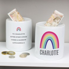 Hampers and Gifts to the UK - Send the Personalised Rainbow Money Box