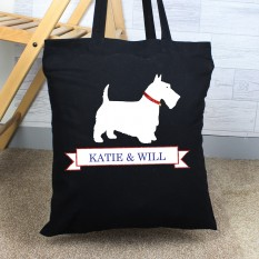 Hampers and Gifts to the UK - Send the Personalised Scottie Dog Black Tote Bag