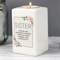 Hampers and Gifts to the UK - Send the Personalised Sentimental Floral Ceramic Candle Holder