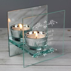 Hampers and Gifts to the UK - Send the Personalised Sentimental Remembrance Glass Tea Light Candle Holder