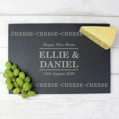 Hampers and Gifts to the UK - Send the Personalised Slate 'Cheese Cheese Cheese' Board