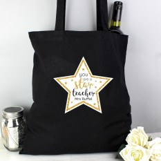 Hampers and Gifts to the UK - Send the Personalised Star Teacher Tote Bag