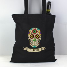 Hampers and Gifts to the UK - Send the Personalised Sugar Skull Candy Black Tote Bag