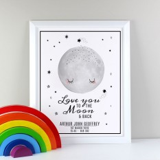 Hampers and Gifts to the UK - Send the Personalised To the Moon and Back Framed Print