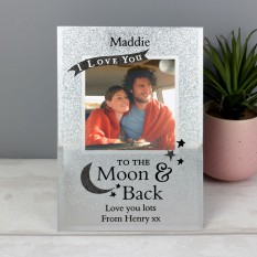 Hampers and Gifts to the UK - Send the Personalised Glitter Glass 'To the Moon and Back' Photo Frame