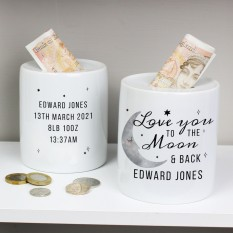 Hampers and Gifts to the UK - Send the Personalised To the Moon and Back Money Box