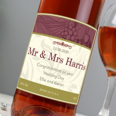 Hampers and Gifts to the UK - Send the  Personalised Traditional Rose Wine Gift