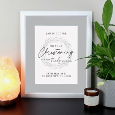 Hampers and Gifts to the UK - Send the Personalised Truly Blessed Christening Framed Print