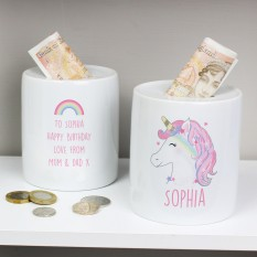 Hampers and Gifts to the UK - Send the Personalised Unicorns and Rainbows Money Box