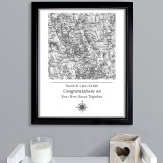 Hampers and Gifts to the UK - Send the Personalised Vintage Map Framed Print