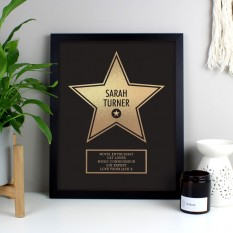 Hampers and Gifts to the UK - Send the Personalised Walk of Fame Award Framed Print