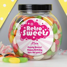 Hampers and Gifts to the UK - Send the Personalised Sweet Jar - Pink Retro