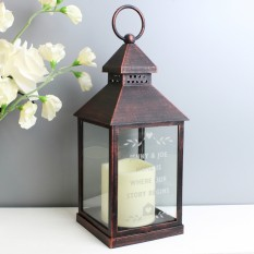Hampers and Gifts to the UK - Send the Personalised Rustic Black Lantern