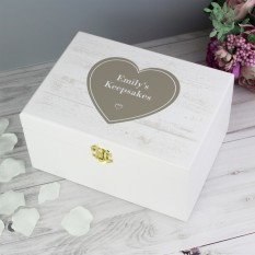 Hampers and Gifts to the UK - Send the Personalised White Rustic Keepsake Box
