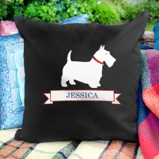 Hampers and Gifts to the UK - Send the Personalised Dog Cushion Cover - Scottie Dog