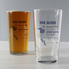 Hampers and Gifts to the UK - Send the Personalised Vintage Football Pint Glass - Blues