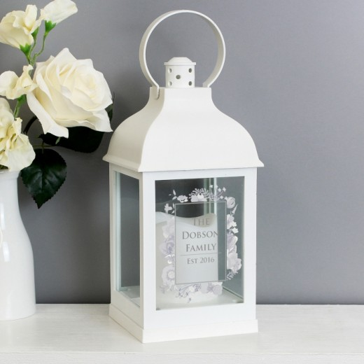 Hampers and Gifts to the UK - Send the Personalised Floral White Lantern