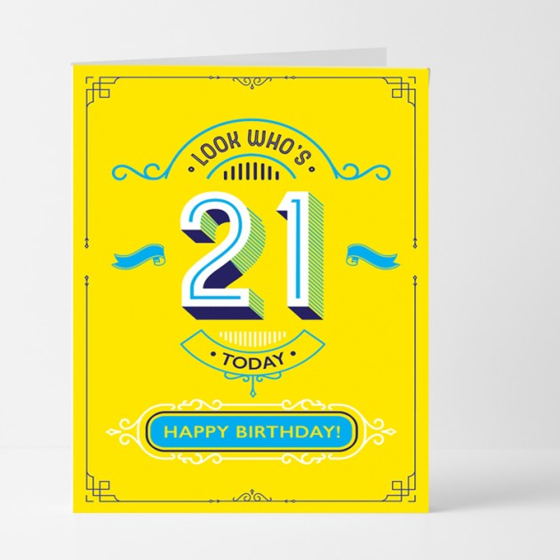 Hampers and Gifts to the UK - Send the Look Who's 21 Birthday Card