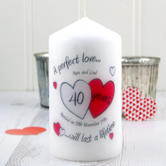Hampers and Gifts to the UK - Send the Personalised A Perfect Love Ruby Anniversary Candle