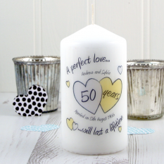 Hampers and Gifts to the UK - Send the Personalised A Perfect Love Golden Anniversary Candle