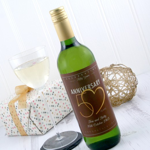 Hampers and Gifts to the UK - Send the 50th Wedding Anniversary Wine Gift