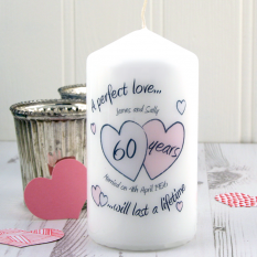 Hampers and Gifts to the UK - Send the Personalised A Perfect Love Diamond Anniversary Candle