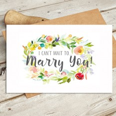 Hampers and Gifts to the UK - Send the Watercolour - I Can't Wait to Marry You Wedding Card