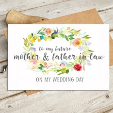 Hampers and Gifts to the UK - Send the Watercolour - Future Mother and Father In Law Wedding Card