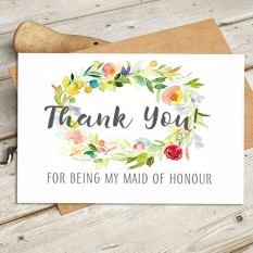 Hampers and Gifts to the UK - Send the Watercolour - Thank You For Being My Maid of Honour Wedding Card