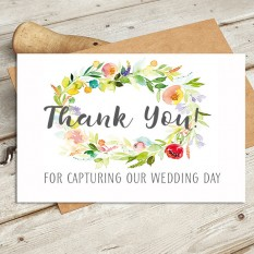 Hampers and Gifts to the UK - Send the Watercolour - Thank You For Capturing Our Day Wedding Card