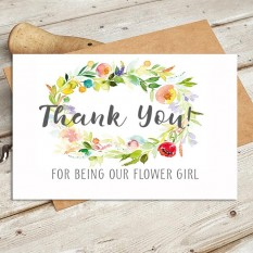 Hampers and Gifts to the UK - Send the Watercolour - Thank You For Being Our Flower Girl Wedding Card