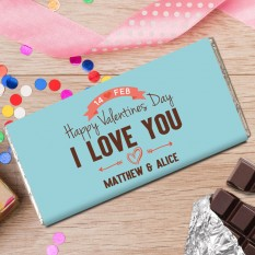Hampers and Gifts to the UK - Send the Personalised Chocolate Bar I Love You
