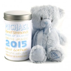 Hampers and Gifts to the UK - Send the New Baby Boy's Birth Stats Teddy In A Tin Personalised
