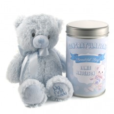 Hampers and Gifts to the UK - Send the New Baby's Beautiful Boy Teddy In A Tin Personalised