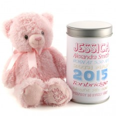 Hampers and Gifts to the UK - Send the New Baby Girl's Birth Stats Teddy In A Tin Personalised