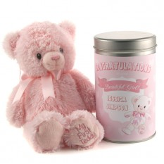 Hampers and Gifts to the UK - Send the New Baby's Beautiful Girl Teddy In A Tin Personalised