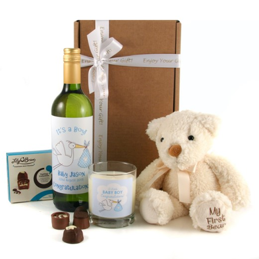 Hampers and Gifts to the UK - Send the It's a Boy Gift Box with Wine Bear and Candles