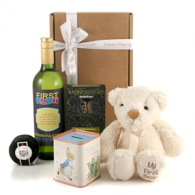 First Baby Gift Set For New Parents With Chocolates And Wine