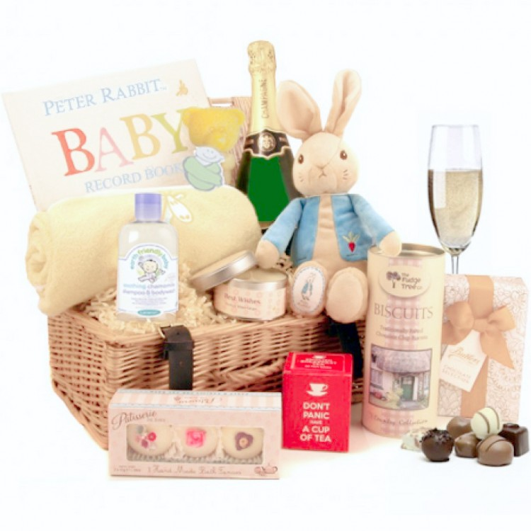 Luxury Baby Gift Hamper : New parent luxury gift hamper with baby gifts champagne