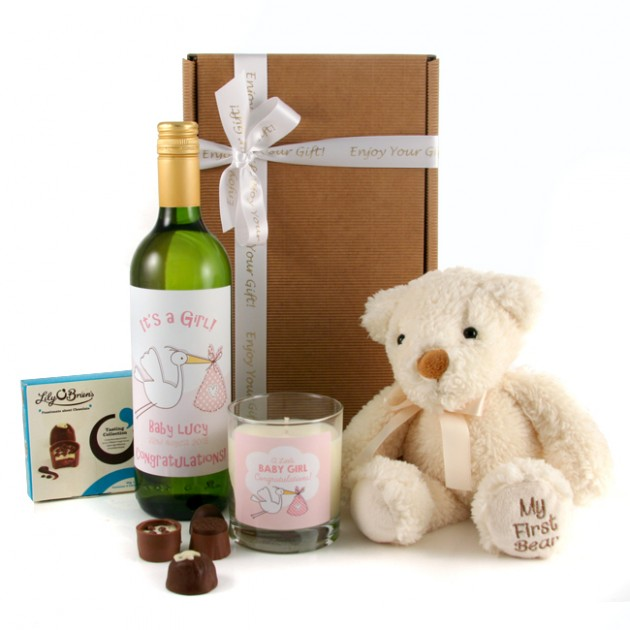 Hampers and Gifts to the UK - Send the It's a Girl Gift Box with Wine Bear and Candles