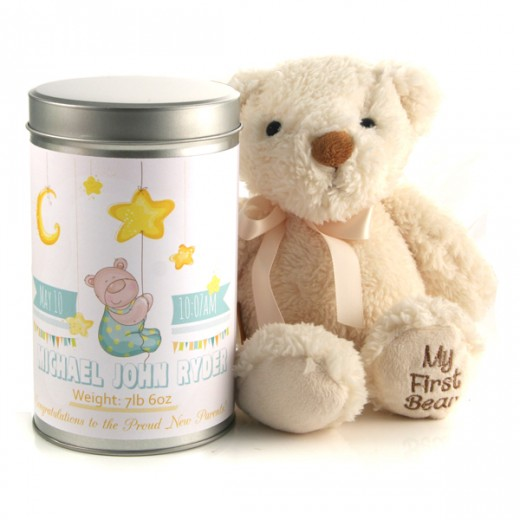 Hampers and Gifts to the UK - Send the New Baby's Birth Stats Teddy In A Tin Personalised