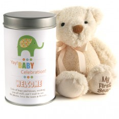 Hampers and Gifts to the UK - Send the Yay Baby Celebration Teddy In A Tin Personalised