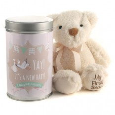 Hampers and Gifts to the UK - Send the Yay It's a New Baby Teddy In A Tin