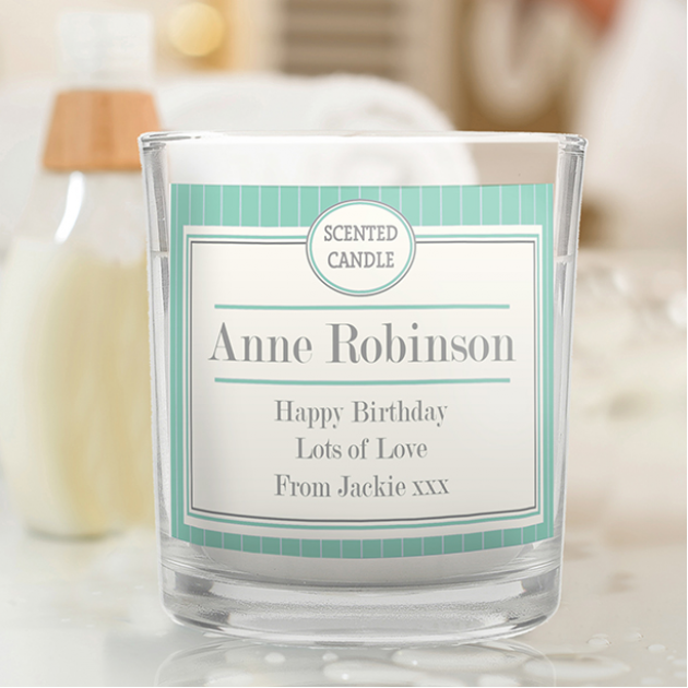 Hampers and Gifts to the UK - Send the Personalised Art Deco Scented Candle Jar