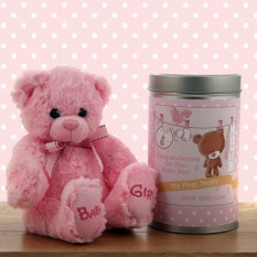 Hampers and Gifts to the UK - Send the Gift In a Tin - Baby Girl Teddy Bear