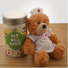Hampers and Gifts to the UK - Send the Gift In a Tin - Get Well Soon with Nurse Bear