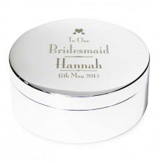Hampers and Gifts to the UK - Send the Personalised Decorative Wedding Bridesmaid Round Trinket Box
