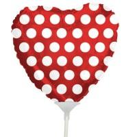 """Polka Dot Red Heart Balloon 9"""" +£2.99"""