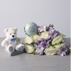 Hampers and Gifts to the UK - Send the Baby Boy Flower Gift