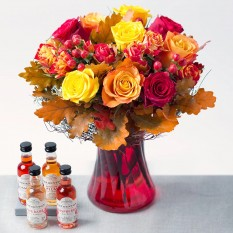 Hampers and Gifts to the UK - Send the Autumn Roses & Gin Flavours Gift Set